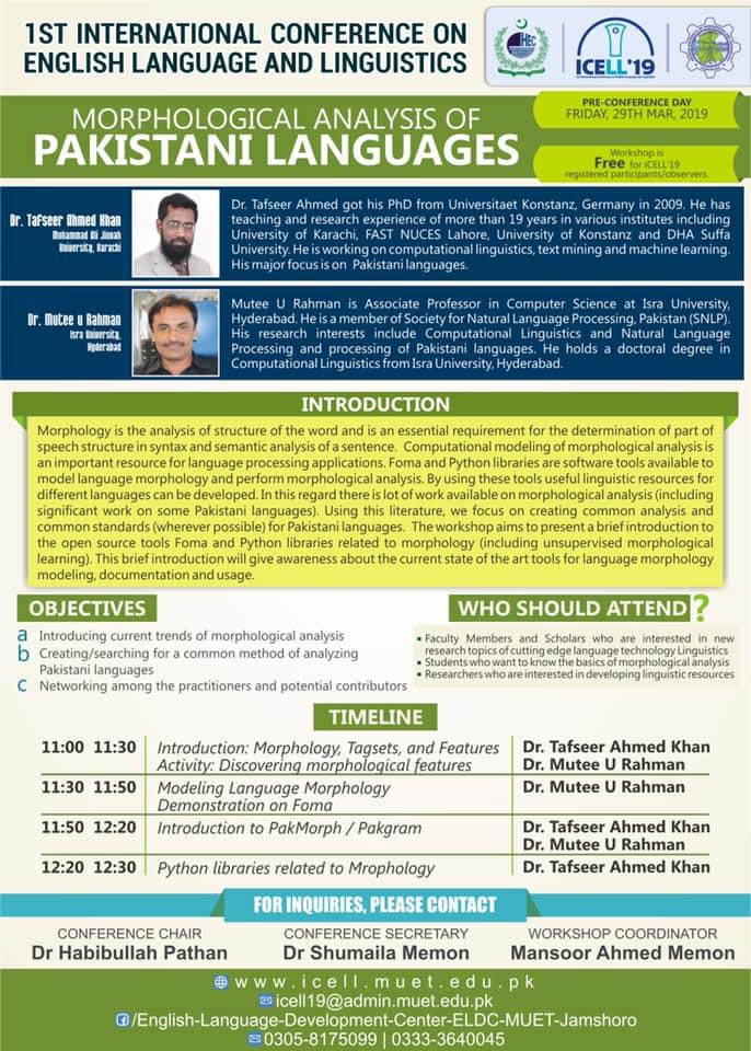 Workshop 2: Morphological Analysis of Pakistani Languages
